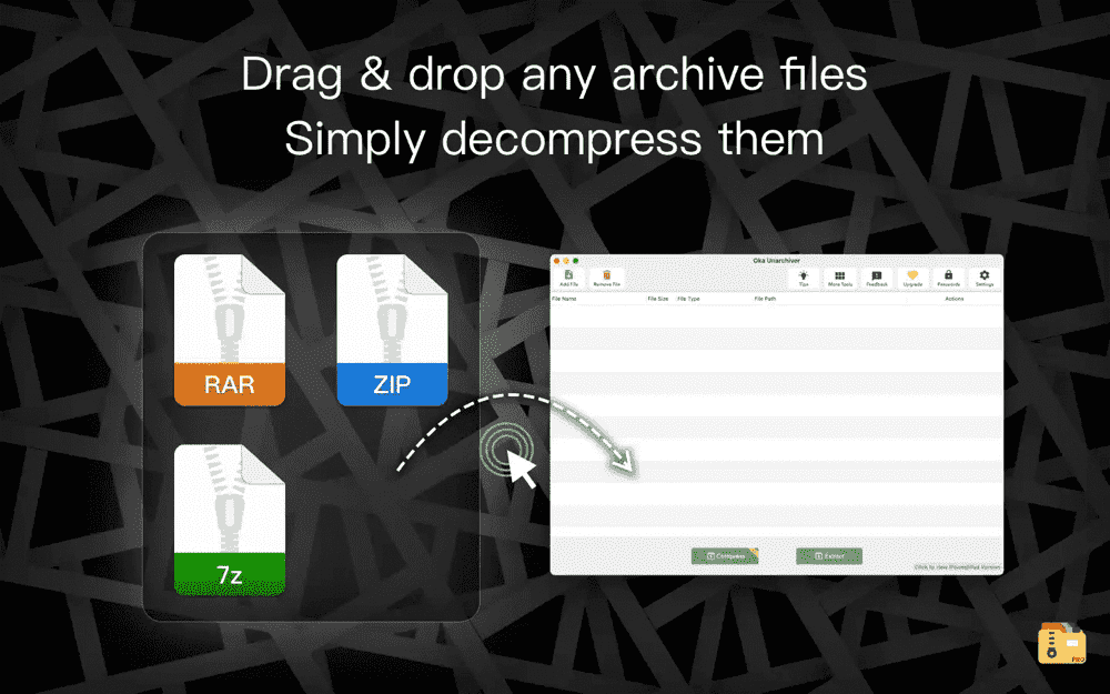 Drag and drop any archive files into Unarchiver to easily decompress them